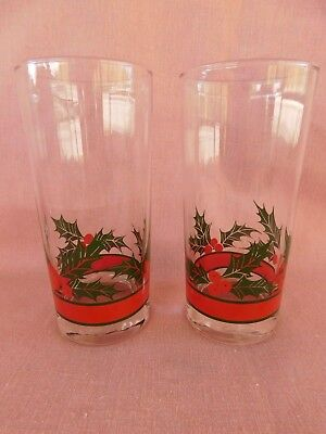 (2) Libbey Holly & Berries 6-1/4  HIGHBALL GLASSes SET Of TWO • 5.59£