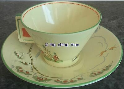 Art Deco COTTAGE & HOLLYHOCKS ROYAL WINTON CUP & SAUCER DUO • 70£