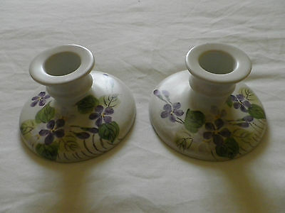 Edward Radford Pottery England Hand Painted Pair Of Candlesticks. • 19.99£