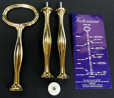 New Gold Coloured 1, 2, 3-tier Cake Stand Poles, England, Used For Royal Albert • 9.95£