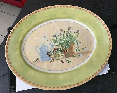 Royal Stafford Green Gardeners Journal Large Serving Oval Plate Platter Flowers • 25£
