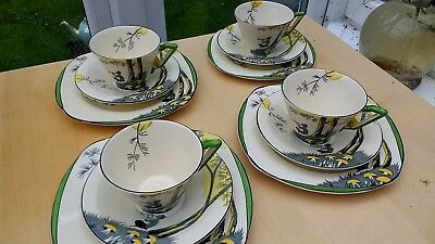 FOUR Burleigh Ware / Zenith Pan Trio S : Art Deco Cups Saucers Side Plates 1930s • 175£