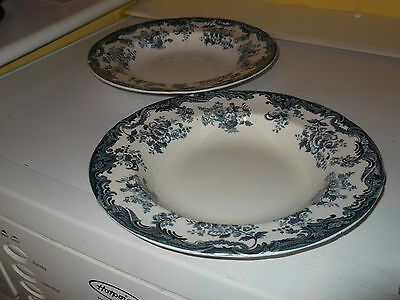 Two Vintage Minton  Shallow Soup Bowls  With A Blue And White Arabia  Pattern • 30.71£