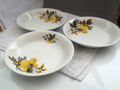 Three Retro Alfred Clough Soup Bowls With A Yellow Flower • 25.99£