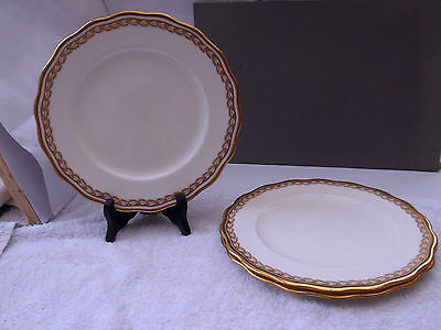 3 1905 - 20 Cauldon Pottery Dinner Plates   Retailed By Harrods  Gold Pattern • 33.78£