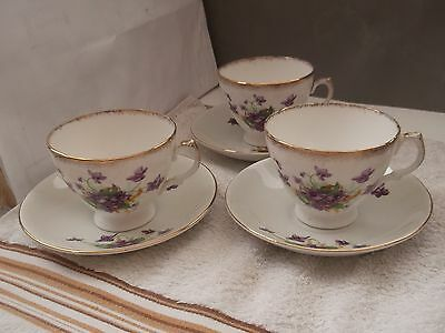 1954 - 9 Three H. F. W. & Co Cups And Saucers With A Purple Violets Pattern  • 23.39£