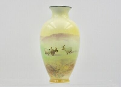 Small Ovoid Cylindrical Vase Decorated With Mountain Goats. Royal Doulton. • 150£