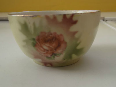 Small Possibly Victorian Bowl  With A Pink Rose Flower On One Side No Maker • 12.99£