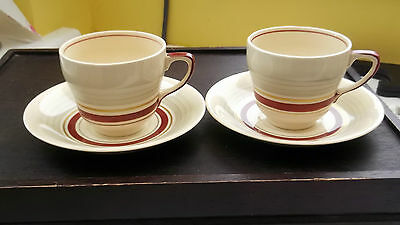 Two Pre 1961 Grays Pottery Cups And Saucers  Red Band Grey Top • 24.79£