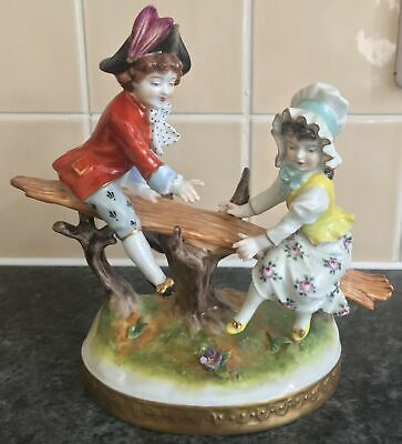 Vintage VOLKSTEDT Porcelain YOUNG MAN & WOMAN On SEE SAW Figurine GROUP • 125£