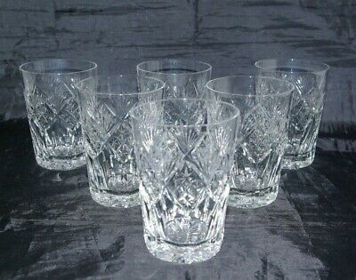 6 Tall Cut Crystal Whisky Tumblers Spirit & Mixer Double Old Fashioned Glasses  • 45£