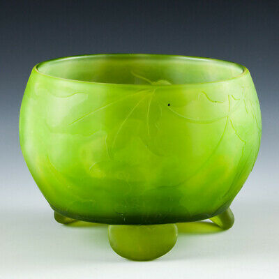 Galle Carved  Verre Double  Footed Vase Sycamore C1895 • 905£