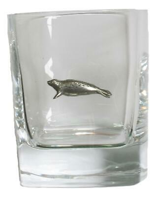 Seal Pair Of Crystal Tumblers Pewter Motift Presentation Box 424 • 34.99£