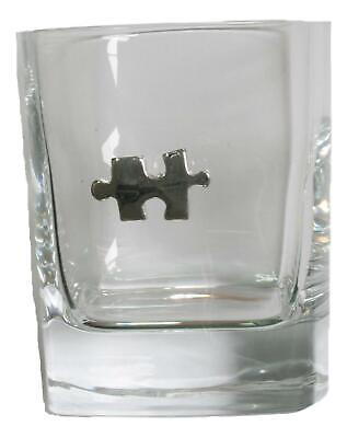 Jigsaw Pair Of Crystal Tumblers Pewter Motift Presentation Box 456 • 34.99£