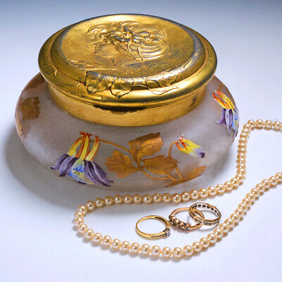 Legras Trinket Box With Orivit Gilded Pewter Cover C1910 • 377£
