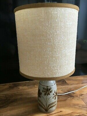 Vintage  Pottery Table Lamp And Shade Light Brown • 28.99£