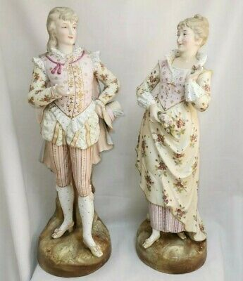 Pair Continental 19th Century Figurines Hand Painted Sevres Dresden Lady Man • 180£