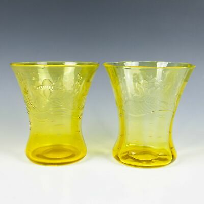 A Pair Of Thomas Webb Cadmium Yellow Engraved Glass Vases C.1900 • 145£
