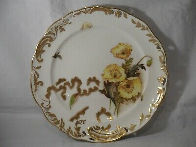 GEORGE JONES SIGNED HOJ? HAND PAINTED FLORAL & GOLD RIBBON PLATE C1890s? 22cms  • 19.99£