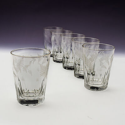 Set Of Six Engraved Continental Tumblers • 110£