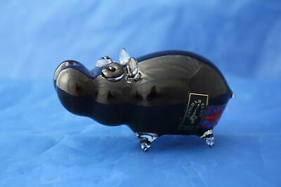 Langham Glass Hand-made Crystal Small Hippo - New & Boxed • 42.95£