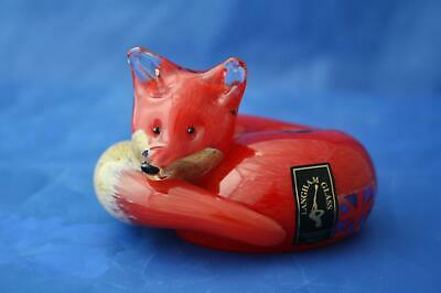 Langham Glass Hand-made Small Crystal Fox At Rest - Brand New / Boxed • 42.95£