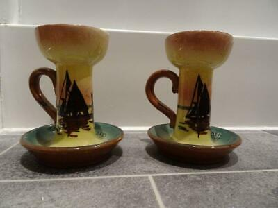 Pair Of Torquay Mottoware Chamber Or Candlesticks - Sailing Boats Pattern • 12.95£