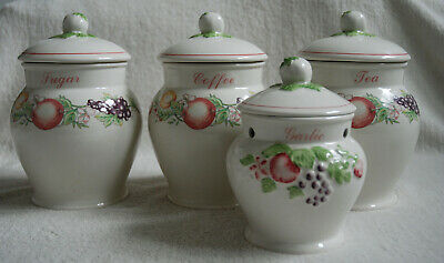 BOOTS Nottingham ORCHARD 4 Storage Jars Lidded Tuscan Style • 12£
