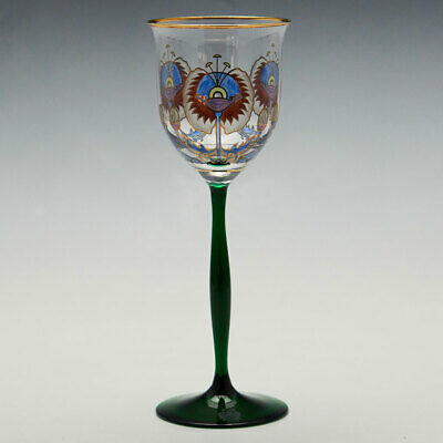 Theresienthal Enamelled Art Nouveau Wine Glass C 1905 • 205£