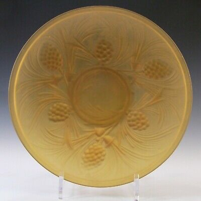 Jobling Art Deco Frosted Amber Glass Fircone Plate / Dish • 35£