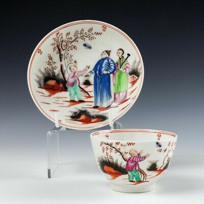 New Hall Boy And The Butterfly Tea Bowl And Saucer C1800 • 85£