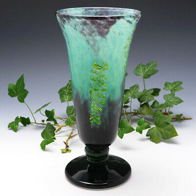 Daum Nancy Glass Vase With Silver Inclusions 1925-30 • 845£