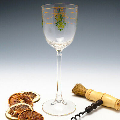 Theresienthal Enamelled Hock Wine Glass C1905 • 127£