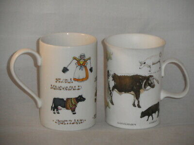 Dunoon Pottery Old Farm Breeds Richard Parvis & Highland Cows Cherry Denman Mugs • 9.99£