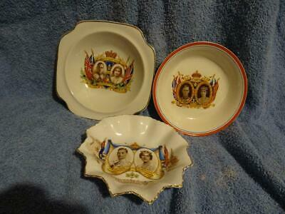 George VI Commemorative Bowls/Dishes X 3.  Coronation & Royal Visit • 9.95£