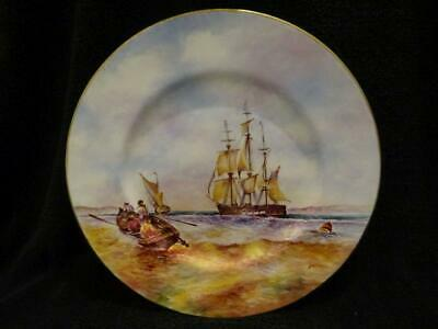 Hand Painted Plate By Ex-Royal Worcester Artist Derek Wilson Ship At Anchor • 29.95£