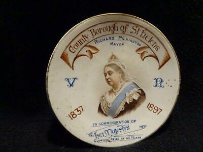 Queen Victoria Diamond Jubilee Teapot Stand - County Borough Of St.Helens • 19.95£