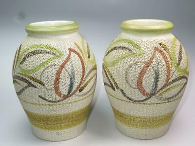 PAIR Of VINTAGE COLLECTABLE LANGLEY STONEWARE Textured Vases Glyn Colledge 1960s • 60£