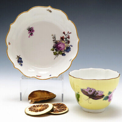 Meissen Porcelain Yellow Ground Ogee Finger Bowl And Stand C1745 • 850£