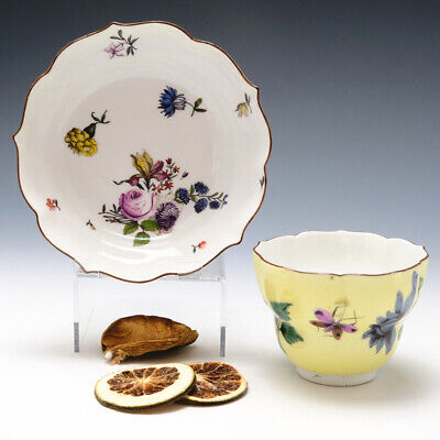 Meissen Yellow Ground Ogee Finger Bowl And Stand C1745 • 845£