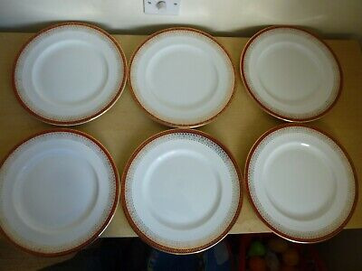 6 Royal Grafton Majestic Dinner Plates - Red & Gold • 30£