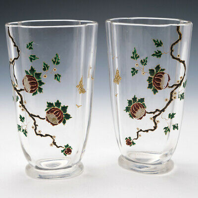 A Mirror Pair Of Baccarat Enamelled Chinoiserie Vases C1910 • 670£