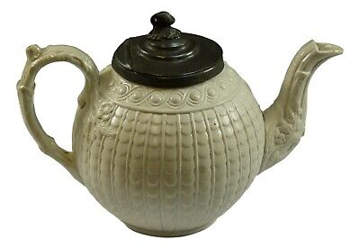 COPELAND - Relief Moulded Teapot Tea Pot With Pewter Lid - WHITE - 1870's • 74.99£