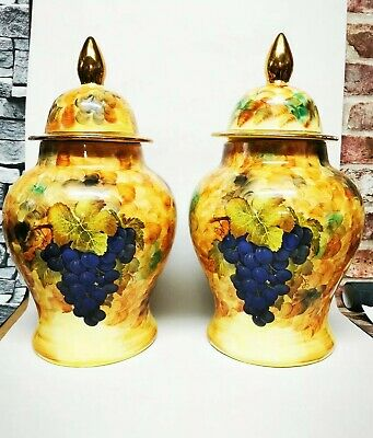 2 Hose St Pottery Tunstall Stoke On Trent Vases Urns With Covers Aynsley Style • 60£