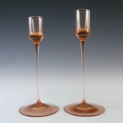Pair Of Wedgwood Topaz Glass Sandringham Candlesticks RSW22 • 45£