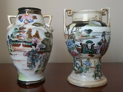 Pretty Early Japanese Noritake Urns Vases Hand Painted Porcelain Gilded Geisha • 29.99£