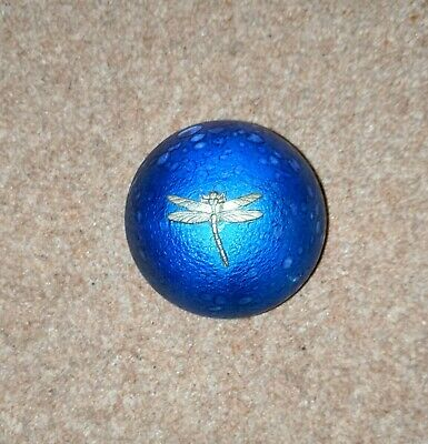 Heron Glass Blue Iridescent Pebble Paperweight With Dragonfly Motif • 24.99£