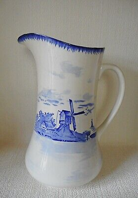EMPIRE WARE BLUE & WHITE - NORFOLK LARGE JUG 310mm HIGH   - GOOD CONDITION C1900 • 10.99£