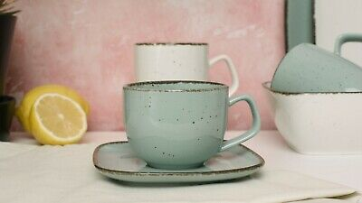 D&F Natural Blue Coffee Cup And Saucer Set Of 4 • 19.99£