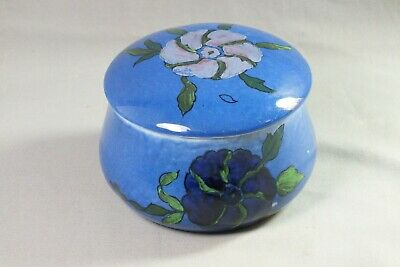 Art Deco Wilton Ware Blue Lidded Pot With Flowers ~ A.G. Harley Jones ~ 1930's • 19.99£